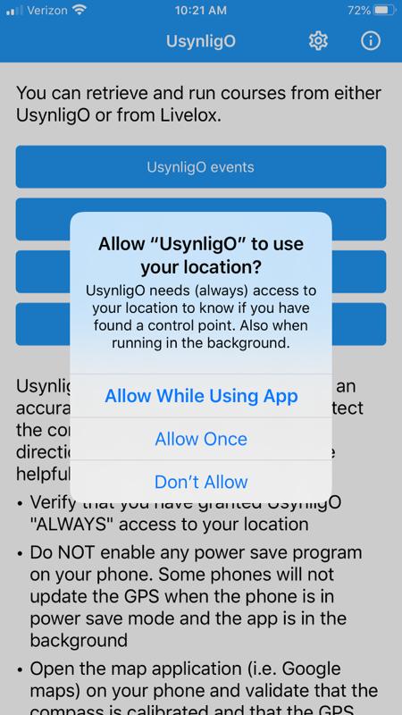 UsynligO iPhone prompt